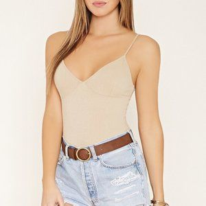 Forever 21 Nude Ribbed Cami Bodysuit